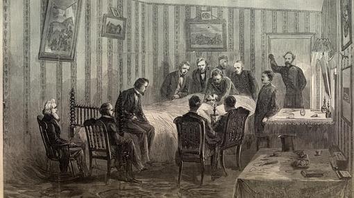 Ilustración de la muerte de Lincoln rodeado de sus hombres de confianza