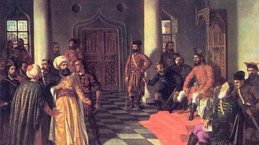 Vlad Țepeș y los enviados turcos, de Theodor Aman (1831-1891).