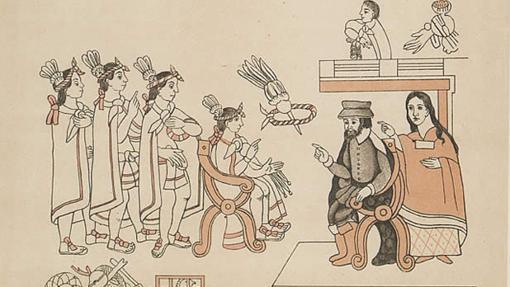 Hernán Cortés y Malintzín en su encuentro con Moctezuma II