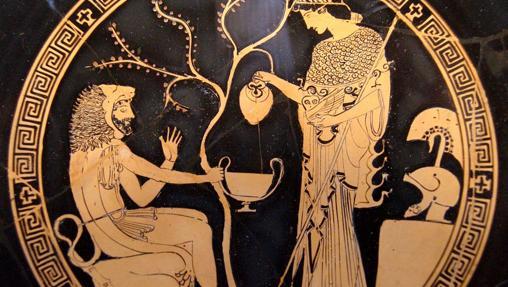 Atenea y Heracles en un kílix ático