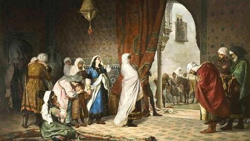 La reina Aixa en la «Salida de la familia de Boabdil de la Alhambra»