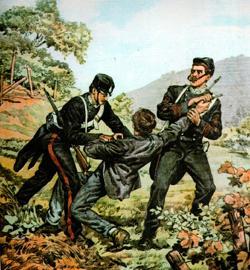 Arresto de Musolino por parte de dos agentes