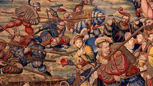 Pintura que muestra la huida desesperada de los mercenarios suizos en la batalla de Pavía. Bicocca y Pavía supusieron la pérdida de la imbatible moral suiza