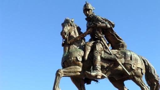 Estatua de Juan de Oñate en Alcalde, Nuevo México.