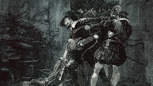 Ilustración que muestra la detención de Guy Fawkes