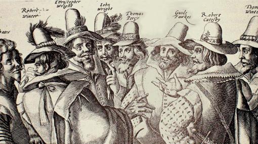 Grabado contemporáneo de Crispijn van de Passe (1605). Se puede identificar a algunos de los miembros de la Conspiración de la Pólvora