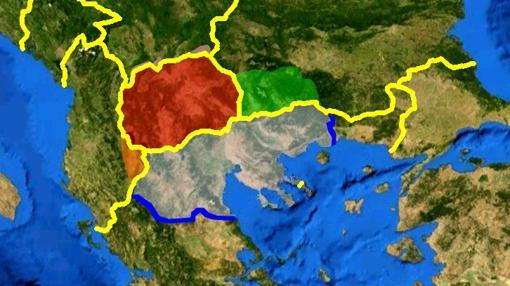 Mapa con la Macedonia griega en gris y la República de Macedonia en rojo