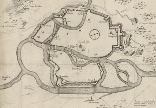 Plano del asedio de Metz, una ciudad con importantes fortificaciones y defensas naturales