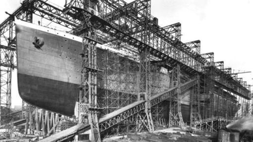 El Britannic, en los astilleros