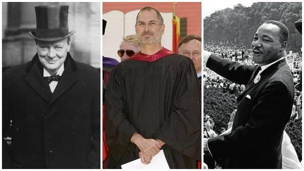 De izquierda a derecha: Winston Churchill, Steve Jobs y Martin Luther King
