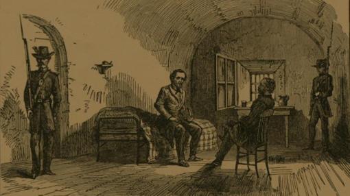 Ilustración de Jefferson Davis en prisión