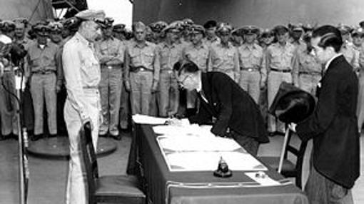Firma de la rendición en el USS Missouri