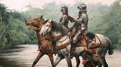 Detalle de uno de los cuadros que representan la Conquista de América