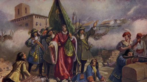 Ilustración de Rafael Casanova herido en el asalto
