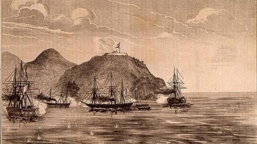 Bombardeo de la Bahía de Turana publicada en la revista «El Mundo Militar» (1860)