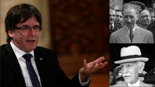 El actual presidente de la Generalitat, Carles Puigdemont (izquierda), junto a los ya fallecidos predecesores en el cargo: Lluís Companys (arriba) y Francesc Macià