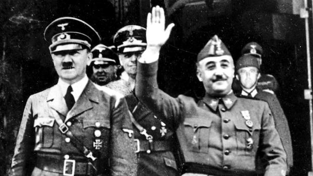 Adolf Hitler y Francisco Franco, durante la entrevista en Hendaya