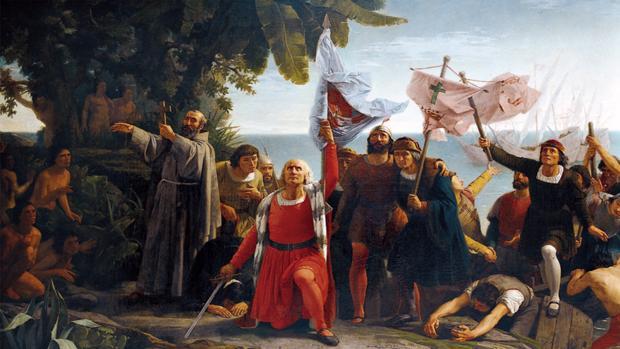 Llegada de Cristóbal Colón a América, por Dióscoro Puebla, 1862