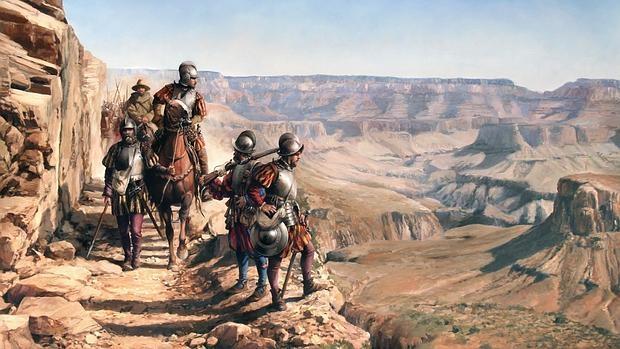 Augusto Ferrer-Dalmau ha pintado la llegada de Coronado al Cañón, que describió como «una gran barranca»