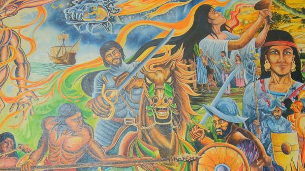 Batalla de Centla, en la que intervino por primera vez el caballo en una guerra en América. Mural en el Palacio Municipal de Paraíso, Tabasco.