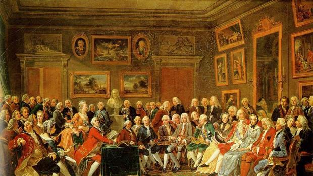 Lectura de la tragedia de Voltaire, Gabriel Lemonnier (1812)