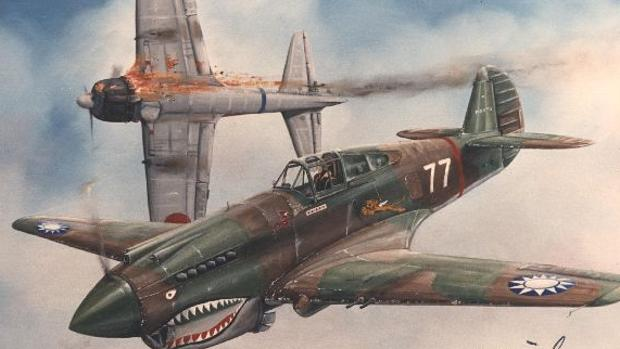 P-40 del 3º escuadrón de los Flying Tigers (Hell's Angels)