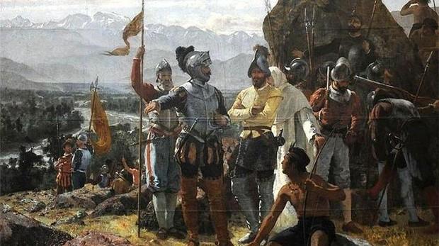Representación de la fundación de la actual Santiago de Chile por los conquistadores