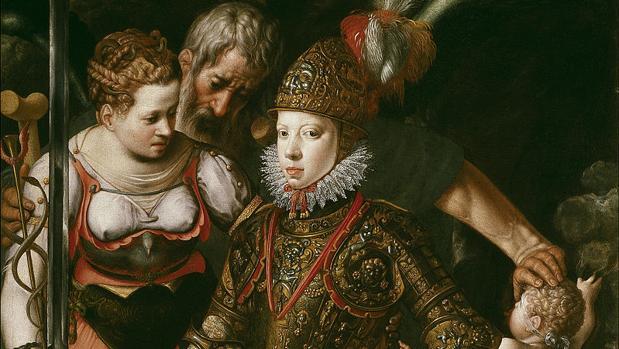 Alegoría de la educación de Felipe III. Cuadro realizado alrededor de 1590 por Justus Tiel.