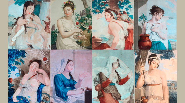 Representación de algunos de los meses del calendario republicano francés