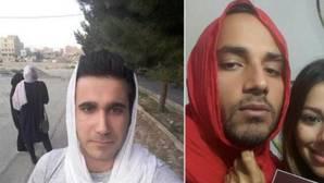 Hombres iraníes protestan contra el uso obligatorio del velo para las mujeres posando con la cabeza cubierta