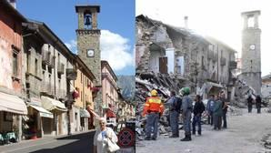 Fotos antes y después del terremoto: ruinas de unos de los pueblos con mayor patrimonio del centro de Italia