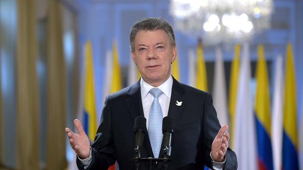 El presidente de Colombia, Juan Manuel Santos, en un discurso en Bogotá este miércoles