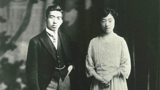 El emperador Hirohito en su boda, en enero de 1924, junto a la emperatriz Nagako