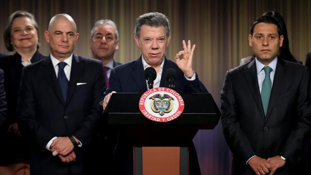 El presidente de Colombia, Juan Manuel Santos, durante una rueda de prensa en el palacio Nariño