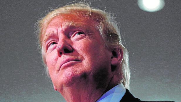 Donald Trump, durante un mitin ayer en Detroit