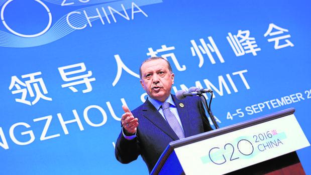 Erdogan, durante una rueda de prensa en el G-20