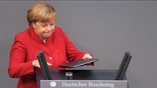 La canciller alemana, Angela Merkel, durante la sesión de este maiércoles en el Bundestag