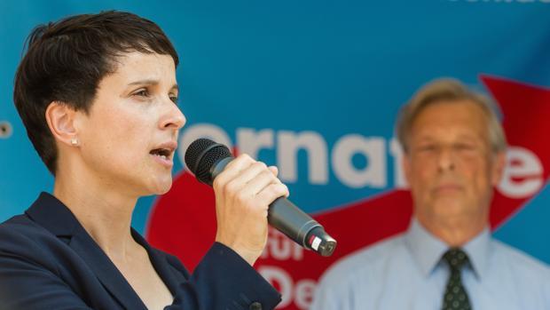 Frauke Petry, colíder de Alternativa para Alemania (AfD), este sábado, durante el cierre de campaña en Hanover