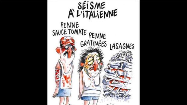 Viñeta satírica en la que «Charlie Hebdo» se burla de las víctimas del terromoto que sacudió el centro de Italia el pasado mes de agosto