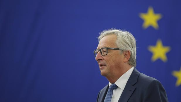 El presidente de la Comisión Europea (CE), Jean-Claude Juncker, durante el debate del estado de la Unión