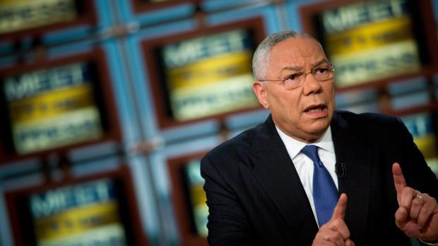 El exsecretario de Estado de Estados Unidos Colin Powell en una aparición televisiva en la NBC en octubre de 2008
