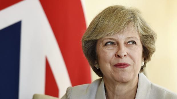 La primera ministra británica, Theresa May, este jueves durante su reunión con emir de Catar, Sheikh Tamim bin Hamad Al Thani, en el número 10 de Downing Street en Londres