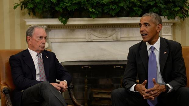 Obama durante una reunión con el alcalde de Nueva York
