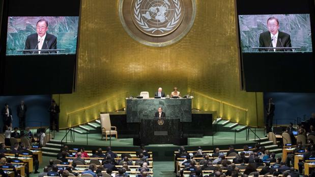 El secretario general de la ONU, Ban Ki-moon, pronuncia este martes el discurso de apertura de la Asamblea General de Naciones Unidas