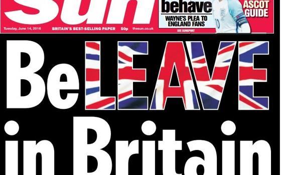 Una de las portadas de «The Sun» en favor de la salida británica de la UE