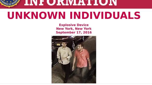 El FBI busca a dos hombres más en su investigación por las bombas de Nueva York