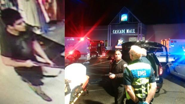 A la izquierda, fotografía del sospechoso. A la derecha, exteriores del centro comercial