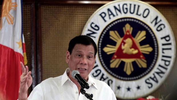 El presidente filipino, Rodrigo Duterte, en una comparecencia en el palacio presidencial de Manila