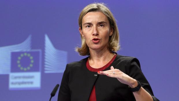 La jefa de la diplomacia europea, Federica Mogherini, durante la rueda de prensa
