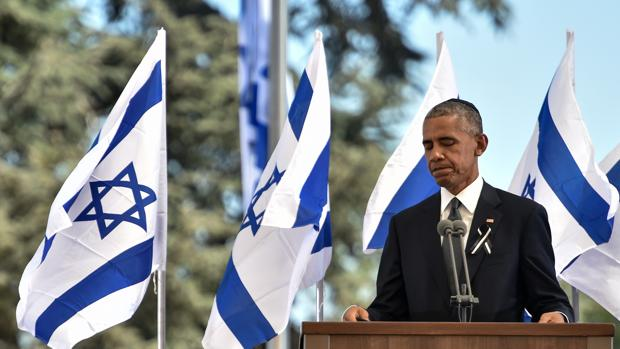 El presidente estadounidense, Barack Obama, durante su discurso en el funeral de Peres en Jerusalén